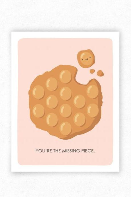 Bubble Waffle Funny Food Pun Greeting Card, Just Because, Valentine's Day Card for Food Lover - Kawaii Asian Food