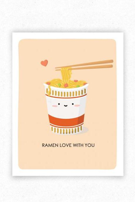 Ramen Cup Noodles Funny Food Pun Greeting Card, Just Because, Valentine's Day Card for Food Lover - Kawaii Asian Food