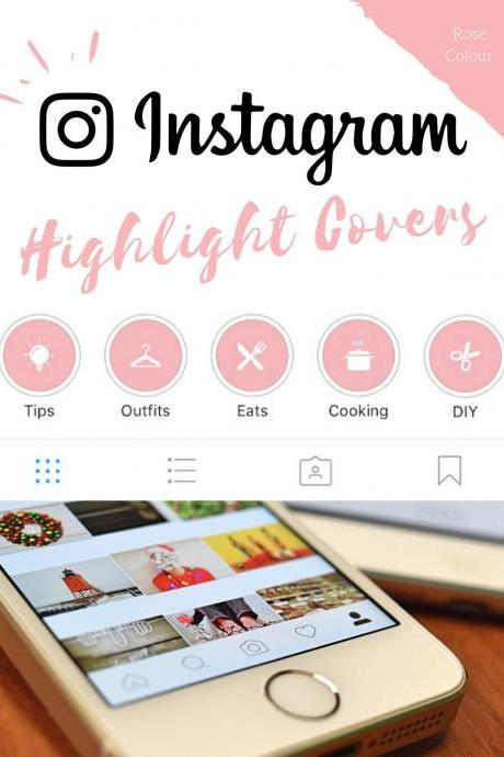 70 Instagram Stories Highlight Covers in Rose Colour.