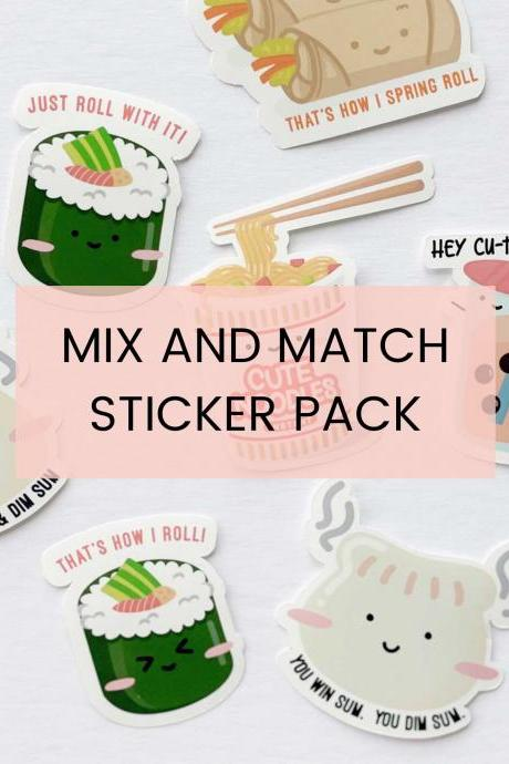 Mix and Match Funny Food Puns Waterproof Vinyl Sticker Pack for Laptop, Notebook, Planners, Water Bottles, Scrapbooking - Kawaii Asian Food.