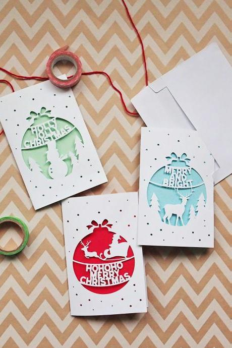 Pack of 3 - Christmas Cutout Greeting Cards | Paper Art Design, Winter Theme, Handmade Card.