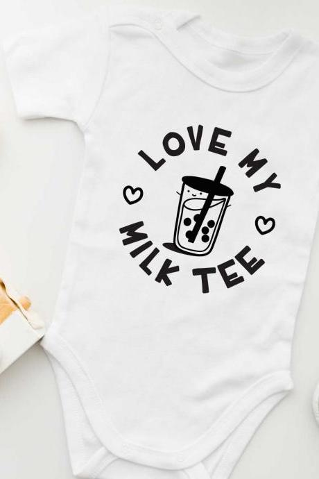 Love My Bubble Milk Tea Baby Onesie | Gender Neutral Baby Bodysuit.