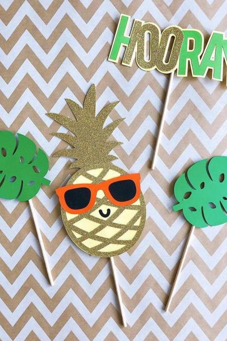 100 Days Birthday Cake Topper - Tropical Pineapple Party Supplies.