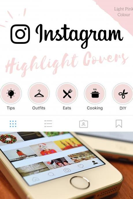 70 Instagram Stories Highlight Covers in Light Pink Colour.