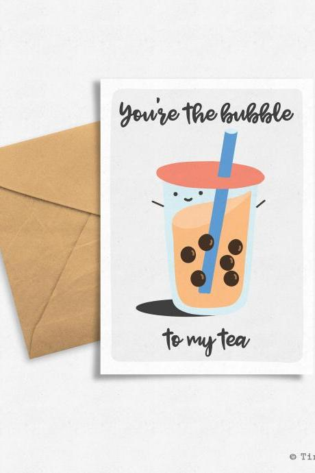 Handlettering Food Pun, Funny Bubble Tea Greeting Card, Digital Download, Printable, Valentine's Day.